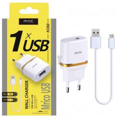 Chargeur USB Xenon avec câble micro USB, 1A, blanc